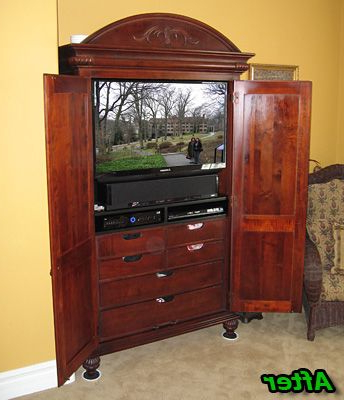Most Up To Date Cherry Tv Armoire Throughout Cherry Tv Armoire Modified For Flat Panel Tv And Yamaha Sound (View 14 of 20)