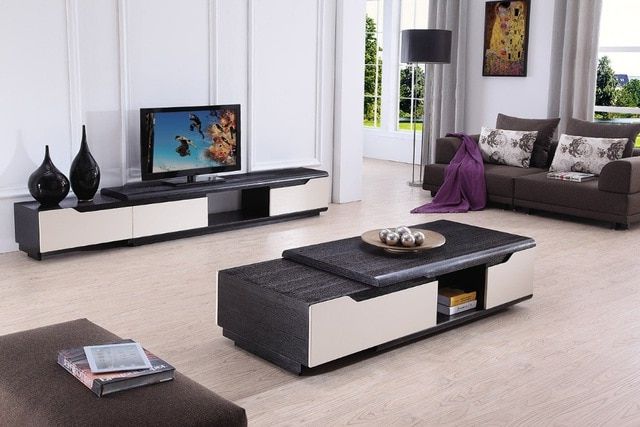 Most Up To Date Coffee Table And Tv Unit Sets Inside Lizz Contemporary Living Room Furniture Tv Stand And Coffee Table (View 15 of 20)