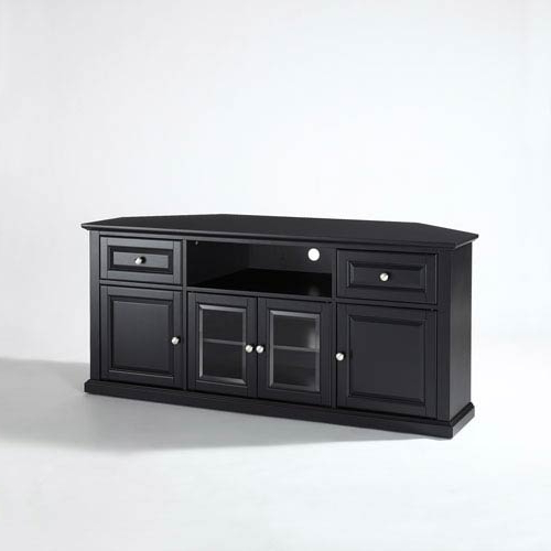 Most Up To Date Crosley Furniture 60 Inch Corner Tv Stand In Black Cf1000260 Bk Pertaining To Black Corner Tv Cabinets (View 13 of 20)