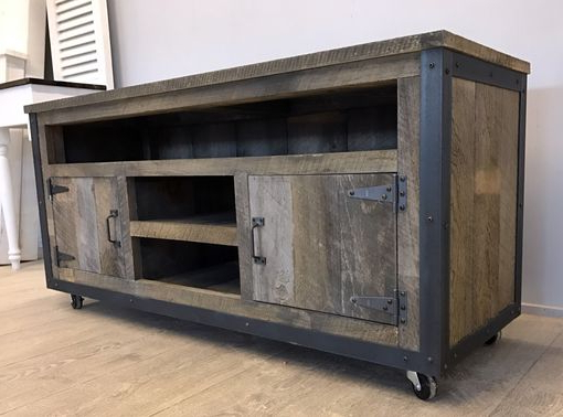 Most Up To Date Entertainment Center Tv Stands Pertaining To Hand Made Rustic Industrial Weathered Barn Board Entertainment (View 13 of 20)
