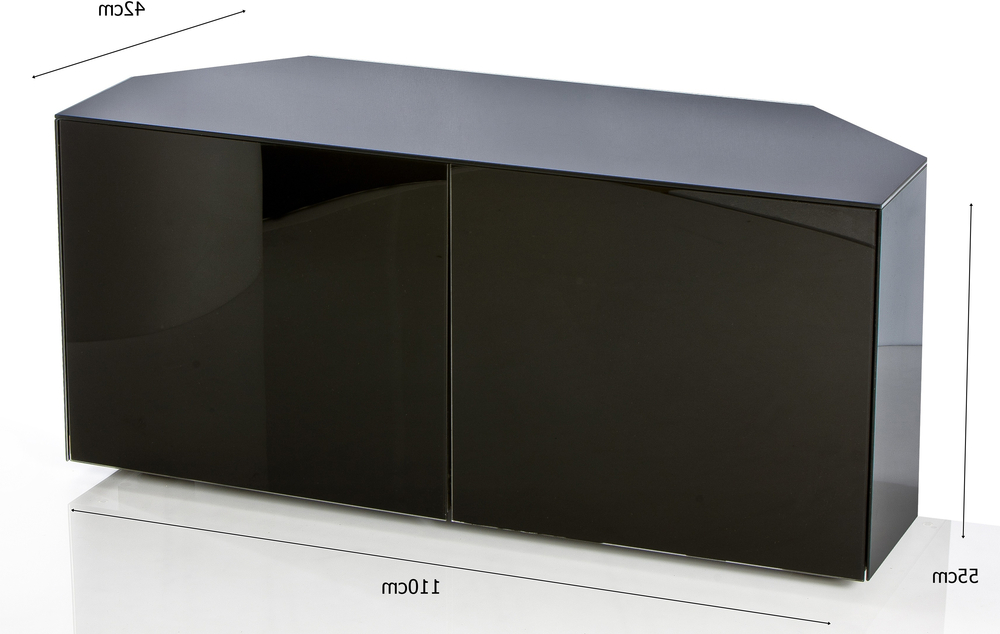 Most Up To Date High Gloss Black Corner Tv Cabinet 110cm With Wireless Phone Charger For Black Gloss Corner Tv Stand (View 6 of 20)