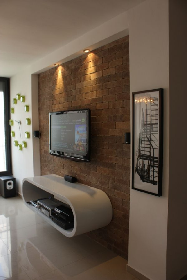 Most Up To Date Inspiration From Our Readers: Exquisute 80Sqm Apartment In Israel Within On The Wall Tv Units (View 10 of 20)