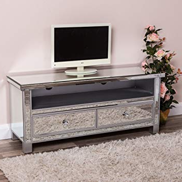 Most Up To Date Large Silver Mirrored Tv Cabinet Unit Widescreen Television Stand Inside Mirrored Tv Cabinets Furniture (View 9 of 20)