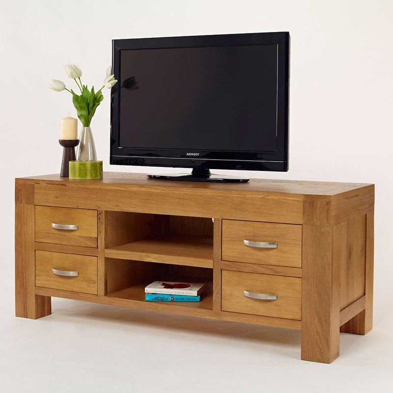 Most Up To Date Light Oak Tv Cabinets With Regard To Santana Blonde Solid Oak Tv Unit – – Tv Unit – Ametis – Space (View 11 of 20)