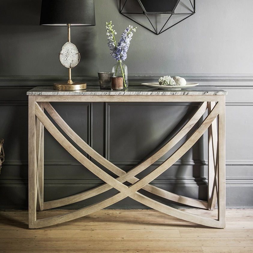 Most Up To Date Marble Top Console Table Linden Industrial Iron And Marble Top With Parsons Grey Marble Top & Dark Steel Base 48X16 Console Tables (Gallery 6 of 20)