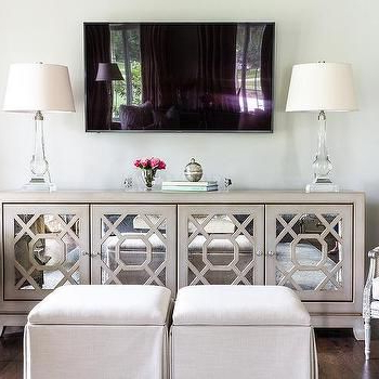 Most Up To Date Mirror Tv Cabinets Intended For Gray Mirrored Tv Cabinet With Crystal Lamps (View 17 of 20)