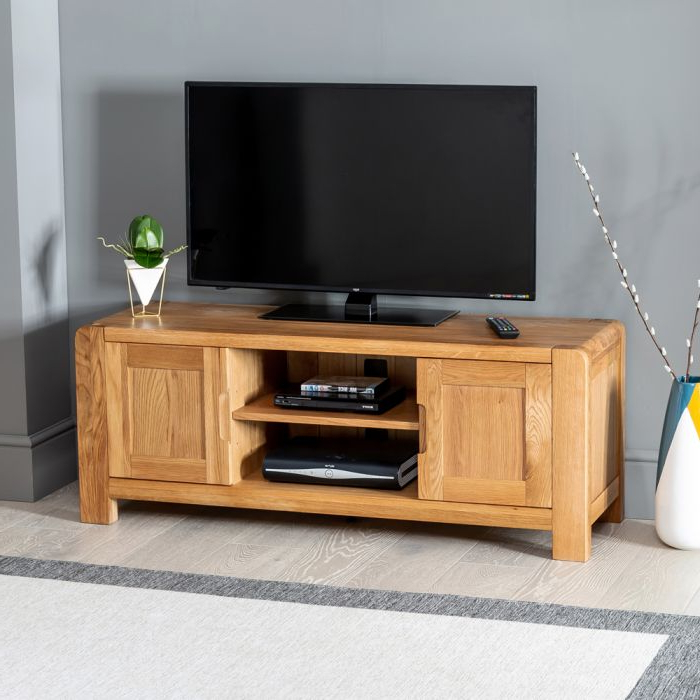 "Most Up To Date Oak Widescreen Tv Units With Osaka Oak Widescreen Tv Cabinet Unit – Up To 55"" Tv Size (View 11 of 20)"