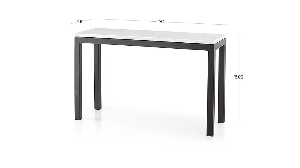 Most Up To Date Parsons White Marble Top & Dark Steel Base 48X16 Console Tables Regarding Parsons White Marble Top/ Dark Steel Base 48X16 Console (View 6 of 20)