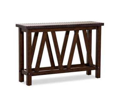 Most Up To Date Roman Metal Top Console Tables With Regard To Black Rectangular Metal Top Brown Wood Base Console Table (View 3 of 20)