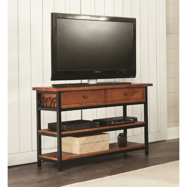 Most Up To Date Shop Artesian Wood/ Metal Scroll 48 Inch W Tv Stand – Free Shipping Pertaining To Wood And Metal Tv Stands (View 9 of 20)