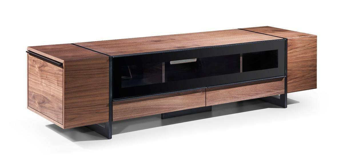 Most Up To Date Smoked Glass Tv Stands For Vig Nova Domus Lorena Walnut Veneer Finish Smoked Glass Tv Stand (View 13 of 20)