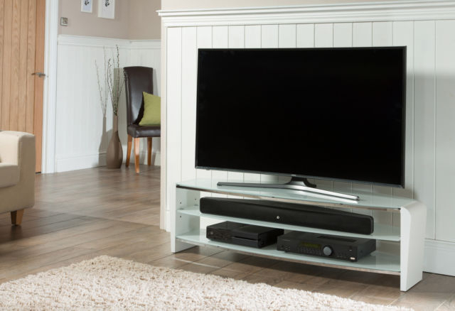 Most Up To Date Smoked Glass Tv Stands Throughout Alphason Francium White And Smoked Glass Tv Stand 1400Mm (View 14 of 20)
