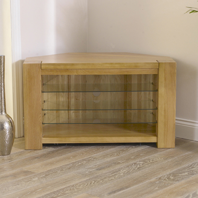 Most Up To Date Solid Oak Corner Tv Cabinets Pertaining To Tamia Solid Oak Corner Tv Unit – Robson Furniture (View 8 of 20)