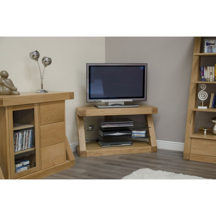 Most Up To Date Solid Wood Corner Tv Cabinets Within Buy Z Oak Furniture Corner Tv Unit At Oak Furniture House (View 13 of 20)