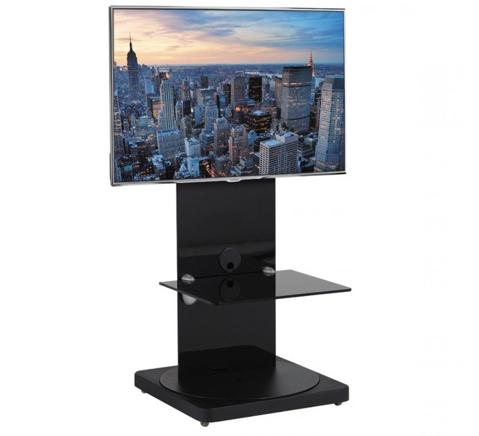 Most Up To Date Square Tv Stands With Cantabria Btf810B Square Based Black Cantilever Tv Stand With Swivel (View 12 of 20)