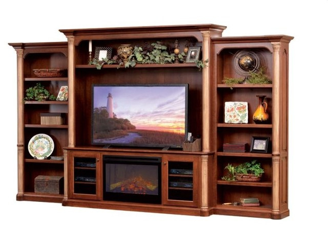 Most Up To Date Tv Stands With Bookcases Inside Jefferson Premier Entertainment Tv Stand & Hutch With Fireplace (View 11 of 20)