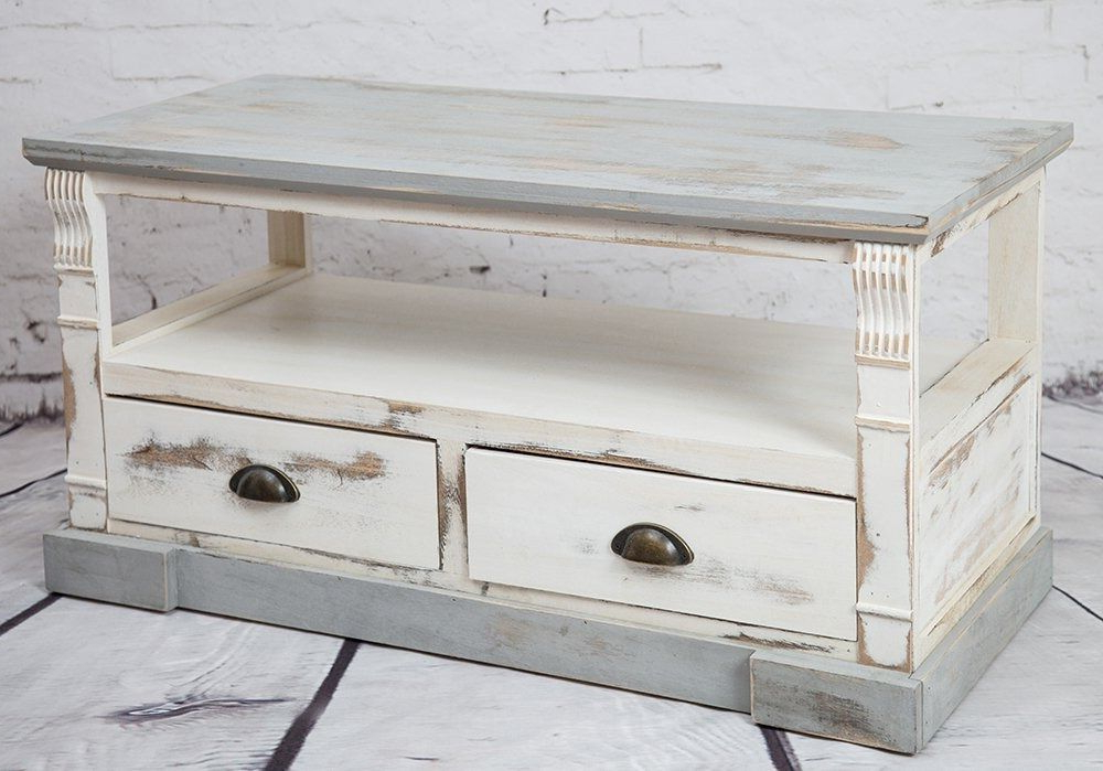 Most Up To Date Tv Unit Cabinet Stand Shabby Chic 2 Drawers Furniture White Grey Max For Shabby Chic Tv Cabinets (View 8 of 20)