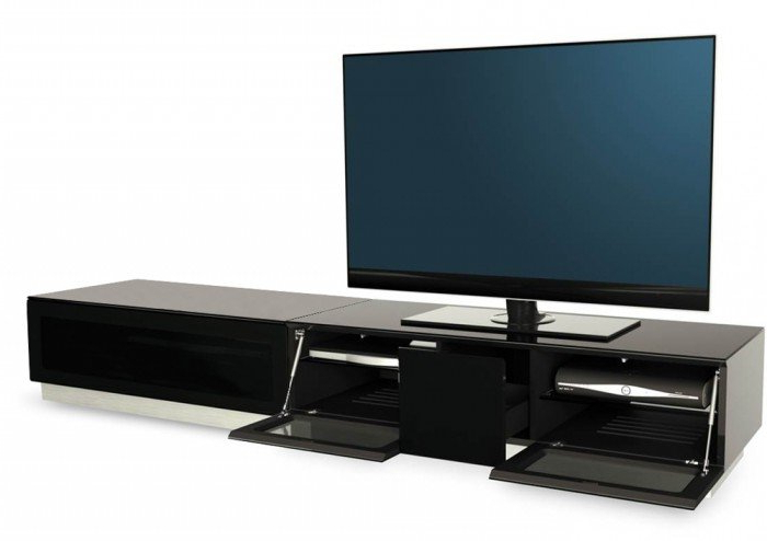 Most Up To Date Tv Units Black With Alphason Element 2100 High Gloss Black Tv Cabinet (View 7 of 20)