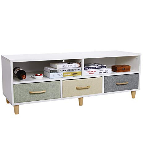 Most Up To Date White And Wood Tv Stands With Regard To Amazon: Lifewit Wood Tv Stand Tv Storage Console Contemporary (View 7 of 20)