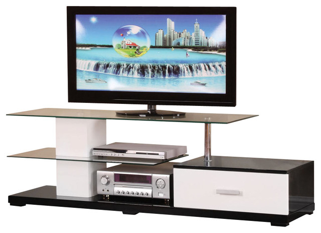 Most Up To Date Wood Tv Stands With Glass Top With Modern White Black Glass Top 3 Tier Tv Stand With 1 Bottom Drawer (View 7 of 20)
