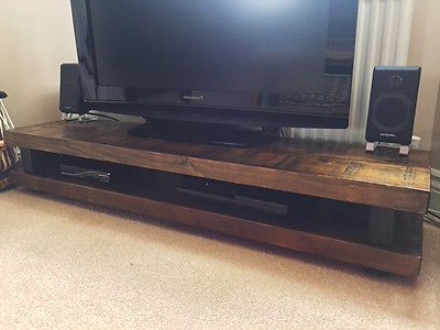N7 Solid Wood Tv Stand Dark Oak Distressed Timber Rustic Chunky Inside Widely Used Dark Tv Stands (Gallery 15 of 20)