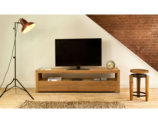 Natural 2 Door Plasma Console Tables Regarding Most Recently Released Reclaimed Teak Plasma Units – Mino Tv Unit (View 10 of 20)