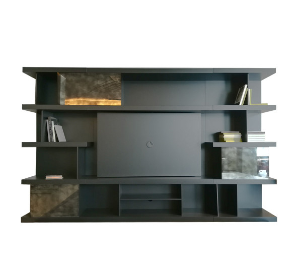 Natuzzi Italia Kubika Bookshelf With Tv Stand – Composition Dove Within Most Recently Released Tv Stands And Bookshelf (Gallery 17 of 20)