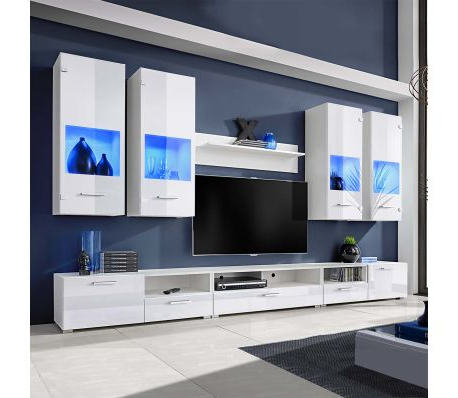 Newest 8 High Gloss Wall Display Unit Tv Cabinet Furniture Set Led Lights Pertaining To Wall Display Units And Tv Cabinets (Gallery 14 of 20)