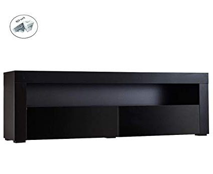 Newest Amazon: Cwy High Gloss Tv Stand With Led Shelves And Drawers Throughout Black Gloss Tv Stands (View 15 of 20)