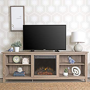 "Newest Amazon: We Furniture 70"" Wood Fireplace Tv Stand Console Inside Caden 63 Inch Tv Stands (Gallery 11 of 20)"