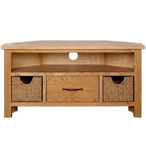 Newest Corner Oak Tv Stands For Flat Screen Inside Sidmouth Oak Corner Tv Stand Dunelm (Gallery 6 of 20)