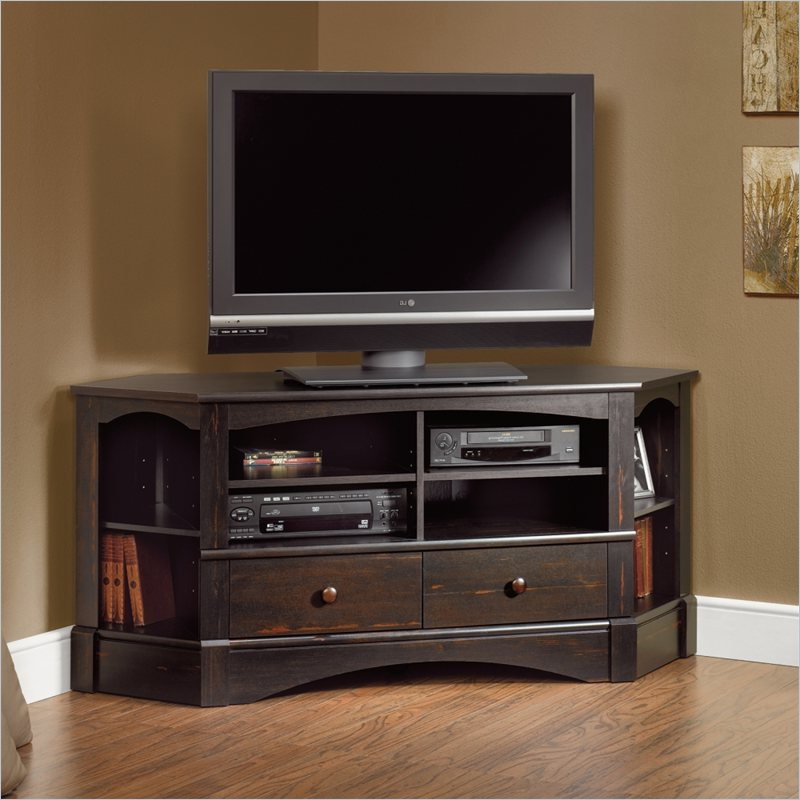 Newest Corner Tv Cabinets For Flat Screens Throughout Bay View Corner Tv Stand In Antiqued Black (View 11 of 20)