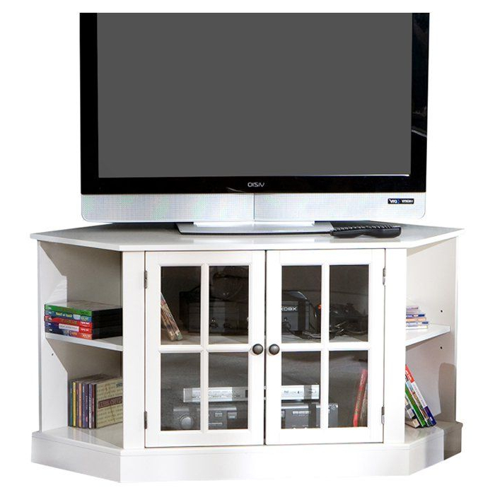 Newest Corner Tv Stands For 46 Inch Flat Screen With Pairing A Corner Design And Crisp White Finish, This Stylish Tv (View 16 of 20)