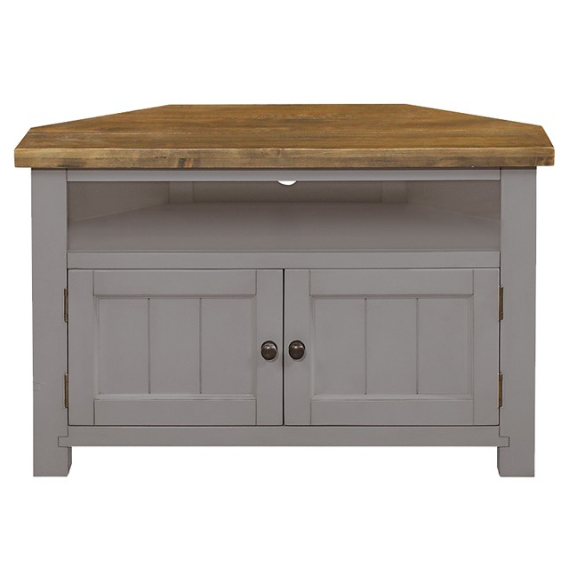 Newest Cotswold Painted Grey Corner Tv Unit – Brand Interiors With Painted Corner Tv Cabinets (View 12 of 20)