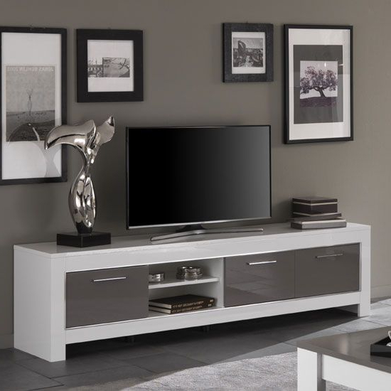 Newest Large White Tv Stands With Regard To Lorenz Large Tv Stand In White And Grey High Gloss With 3 Doors And (Gallery 2 of 20)