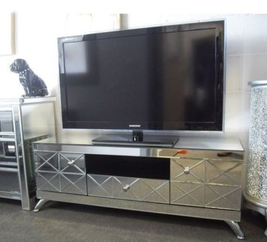 Newest Mirrored Tv Cabinets Furniture For Mirrored Tv Stand Glass Cabinet Contemporary Decor Vintage Unit (View 4 of 20)