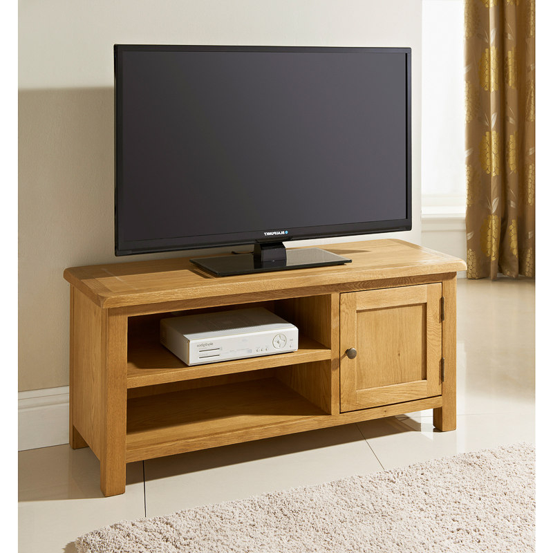 Newest Oak Furniture Tv Stands With Regard To B&m Wiltshire Wide Tv Table – 319209 (Gallery 17 of 20)