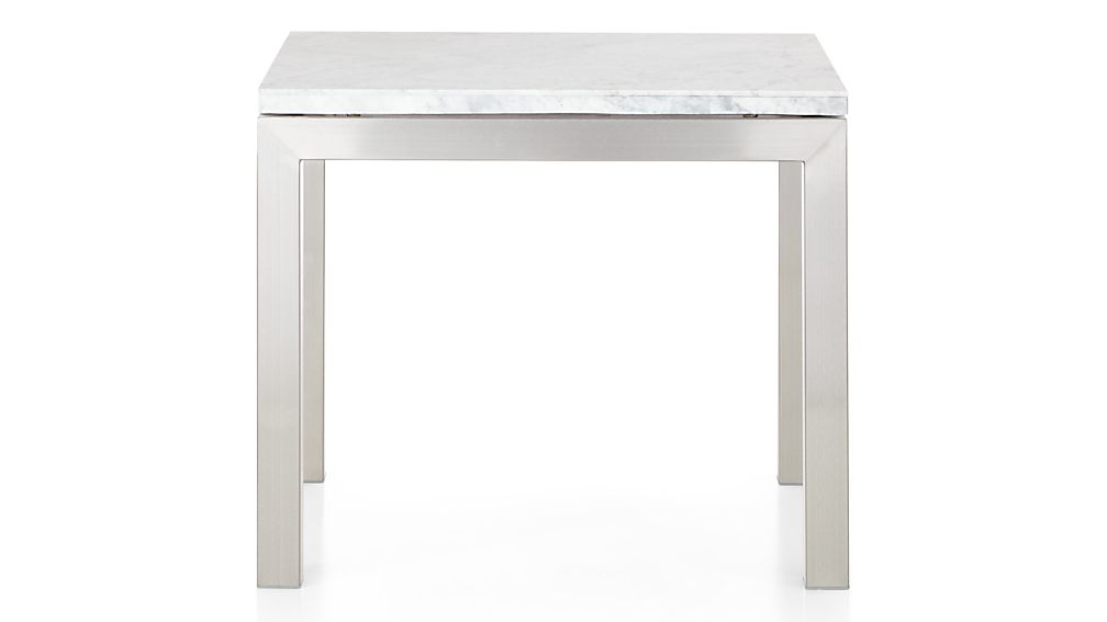 Newest Parsons White Marble Top/ Stainless Steel Base 20X24 End Table + Within Parsons Travertine Top & Stainless Steel Base 48X16 Console Tables (Gallery 19 of 20)