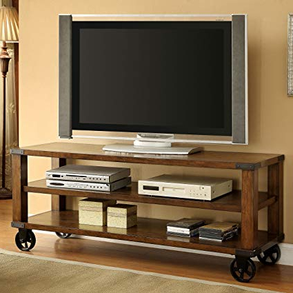 Newest Rustic 60 Inch Tv Stands Regarding Amazon: Modhaus Living Modern Industrial Rustic Oak 2 Shelves (Gallery 18 of 20)