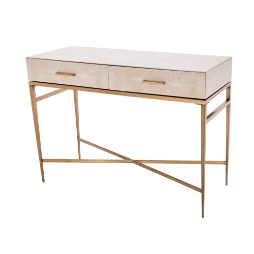 Newest Shagreen Console Table In Cream Throughout Grey Shagreen Media Console Tables (View 15 of 20)