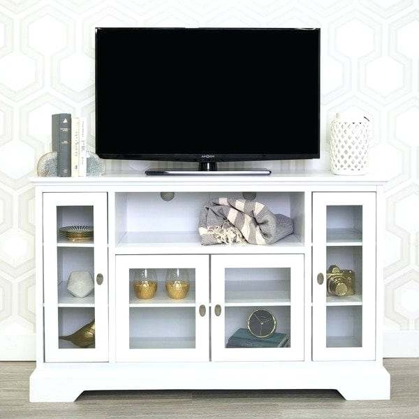 Newest Shop 52 Highboy Tv Stand Console White 52 X 16 X 33H Free High Boy Inside Dixon Black 65 Inch Highboy Tv Stands (Gallery 6 of 20)