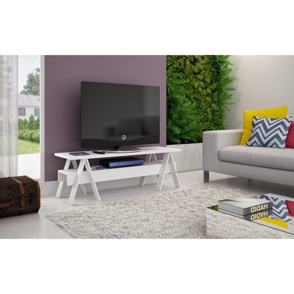 Newest Single Tv Stands Intended For Shop Manhattan Comfort Messina Single Shelf Tv Stand – Free Shipping (View 13 of 20)