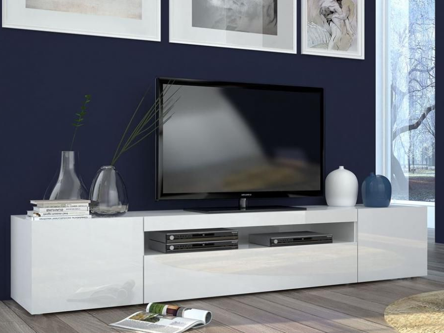 Newest Trendy Tv Stands Regarding Modern Large Tv Cabinet In A Trendy White Gloss Finish With White Or (View 7 of 20)