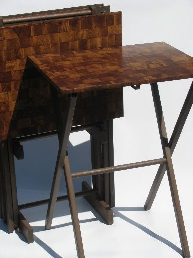 Newest Vintage Laminate Hardboard Tv Tables With Folding Wood Frames Intended For Folding Wooden Tv Tray Tables (View 6 of 20)
