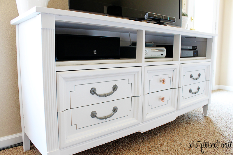 Newest White Painted Tv Cabinets With Dresser Turned Tv Stand – Two Twenty One (Gallery 4 of 20)