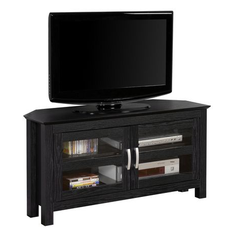 Newest Wood Corner Tv Cabinets Intended For We Furniture Black Wood Corner Tv Stand With Glass Doors (View 6 of 20)