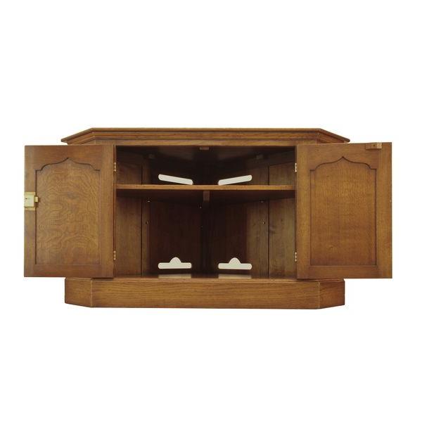 Oak Corner Tv Unit – Oak Tv Cabinets & Media Units – Tudor Oak, Uk Throughout Widely Used Corner Wooden Tv Cabinets (Gallery 17 of 20)