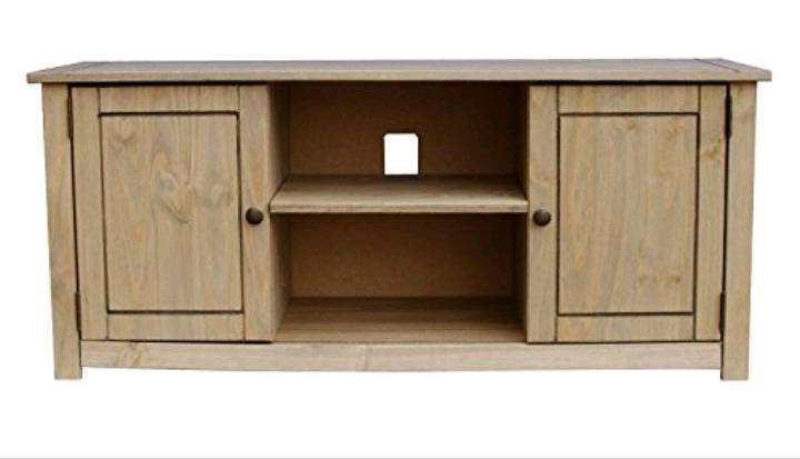 Oak Tv Cabinets For Flat Screens With Doors Regarding Most Current New & Boxed 2 Door 1 Shelf Flat Screen Tv Unit, Oak (Gallery 18 of 20)