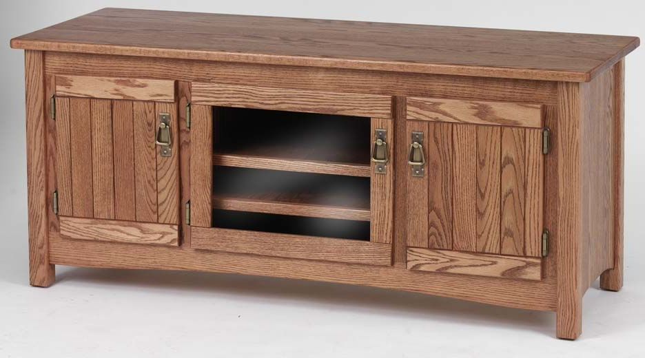 "Oak Tv Cabinets Regarding Most Recent Mission Solid Wood Oak Tv Cabinet – 51"" (View 10 of 20)"