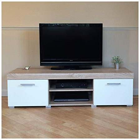 Oak Tv Cabinets With Doors For Well Known Sydney White & Sonoma Oak Large 2 Door Tv Cabinet 140cm Unit: Amazon (Gallery 19 of 20)